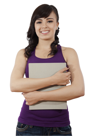 Stock image of female college student isolated on white background