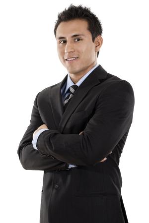 Confident Hispanic businessman isolated on white background