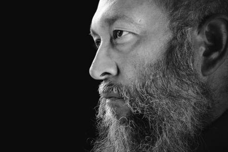 Stock image portrait of bearded man, black and white. Zdjęcie Seryjne - 133745130