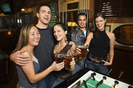 Group at pub. Stock Photo