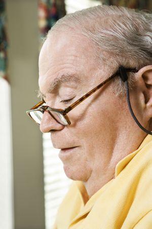 bifocals: Senior Caucasian man with bifocals. Stock Photo