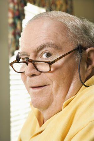 bifocals: Senior Caucasian  man with bifocals.