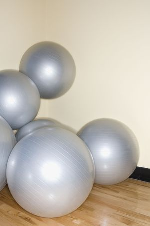 Balance balls stacked in gym. photo