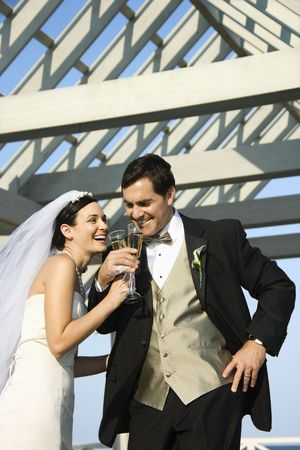 Caucasian mid-adult bride and groom drinking champagne. Stock Photo - 1795793