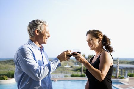 Caucasian mid-adult couple making toast with wine glasses. Stock Photo - 1797438