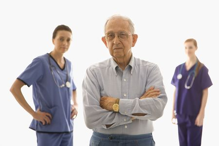 Man with medical workers. photo