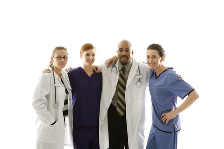 eachother: Half-length portrait of African-American man and Caucasian women medical healthcare workers in uniforms with arms around eachother standing against white background.