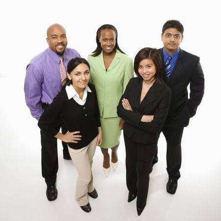 diverse hands: Portrait of multi-ethnic business group standing looking at viewer.