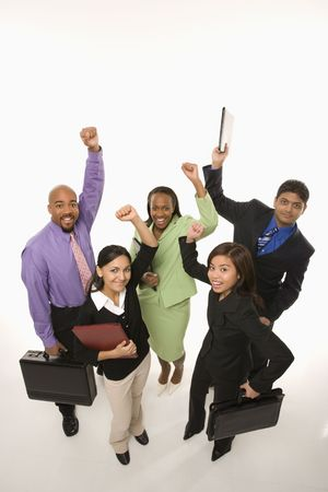 attache: Portrait of multi-ethnic business group standing holding briefcases and cheering. Stock Photo