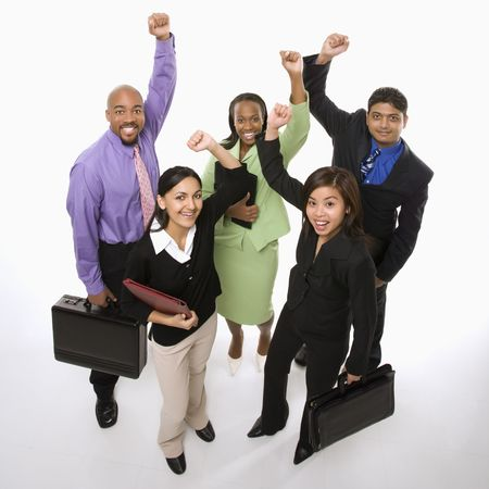 young cheering: Portrait of multi-ethnic business group standing holding briefcases and cheering. Stock Photo