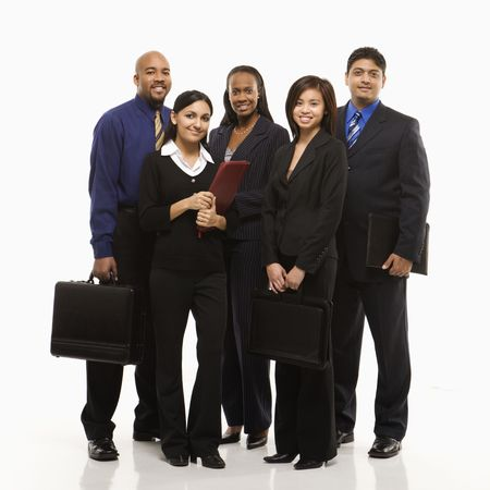 diverse people: Multi-ethnic business group of men and women standing with briefcases looking at viewer.