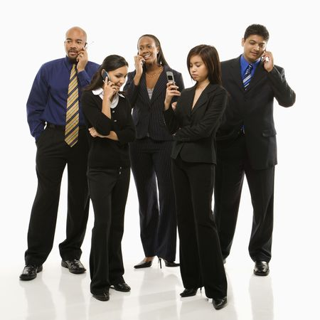 phone business: Multi-ethnic business group of men and women standing talking on cell phones.