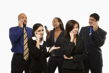 Multi-ethnic business group of men and women standing talking on cell phones. Stock Photo - 1796867