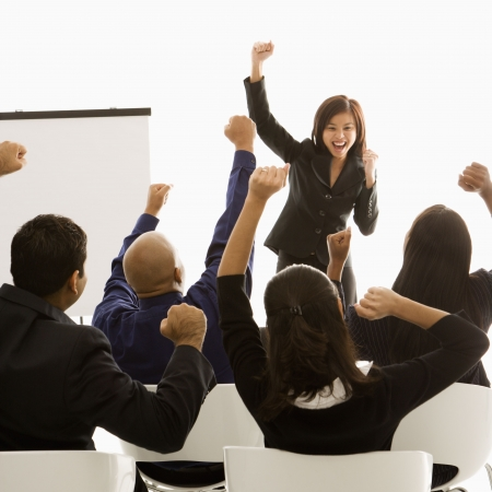 cheer: Business motivation. Stock Photo
