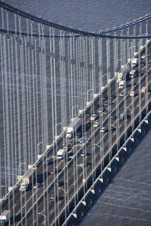 Aerial view of New York Citys Verrazano-Narrows bridge with traffic. photo