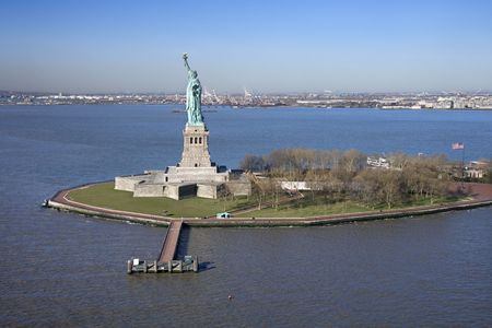 north island: Aerial view of Liberty Island and Statue of Liberty. Stock Photo