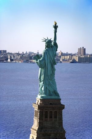 hudson river: Aerial view of Statue of Liberty. Stock Photo