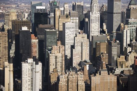 Aerial view of Manhattan buildings, New York City.