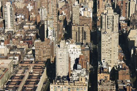 Aerial view of buildings in New York City. photo