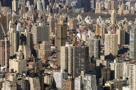 aerial photograph: Aerial view of buildings in New York City.