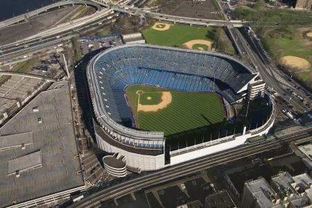 yankee: Aerial view of Yankee baseball Stadium in the Bronx, New York City.