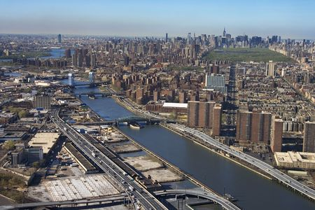Aerial view of Harlem River and bridges with the Bronx and Manhattan buildings in New York City. Stock Photo - 1826635