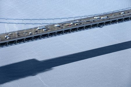 Aerial view of Triborough Bridge over East River in New York City. photo