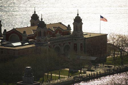 ellis: Aerial view of Ellis Island, New York City. Stock Photo