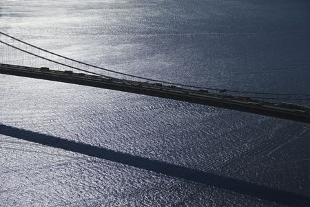 aerial photograph: Aerial view of traffic on Verrazano-Narrows Bridge in New York City.