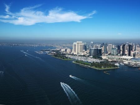 diego: Aerial view of buildings on coast in San Diego, California.