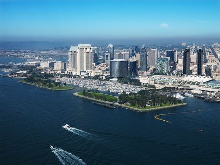 aerial city: Aerial view of buildings on coast in San Diego, California.