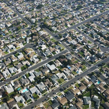 suburbia: Aerial view of residential urban sprawl in southern California.