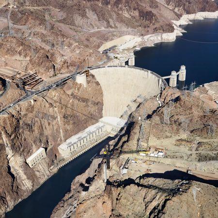 Aerial view of Hoover Dam on the Nevada-Arizona border. Stock Photo