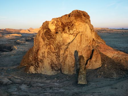 rock formation: Aerial of scenic Arizona desert landscape with rock formation.