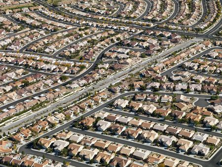 Aerial view of suburban neighborhood urban sprawl in Las Vegas, Nevada.