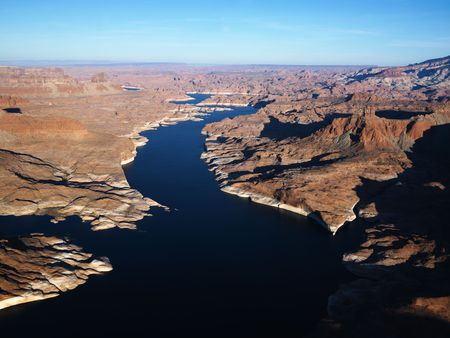 aerial photograph: Aerial view of Lake Powell and Glen Canyon. Stock Photo