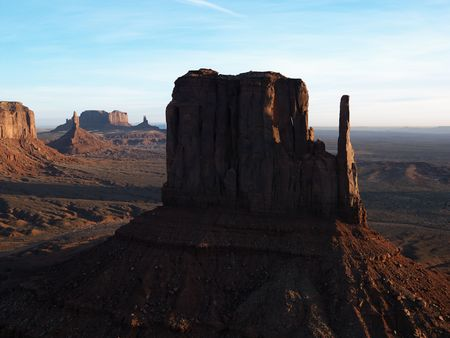 aerial photograph: Sandstone mesa in Monument Valley.