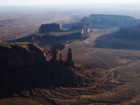 aerial photograph: Aerial view of desert landscape in Monument Valley, Utah. Stock Photo