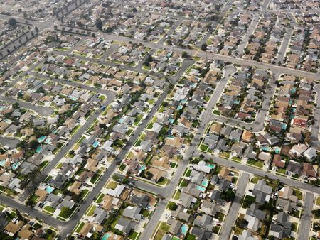 aerial photograph: Aerial view of sprawling Southern California urban housing development. Stock Photo