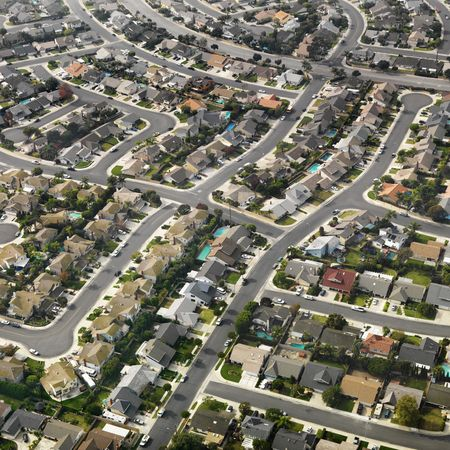 Aerial view of sprawling Southern California urban housing development. photo