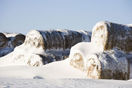 heap snow: Snow covered pile of hay bales. Stock Photo