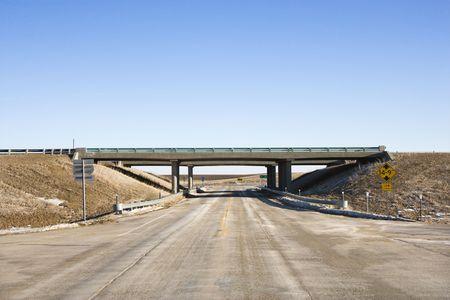 overpass: Highway with overpass bridge.