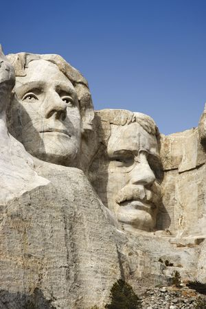 mount rushmore: Theodore Roosevelt and Thomas Jefferson sculpture at Mount Rushmore National Monument, South Dakota.