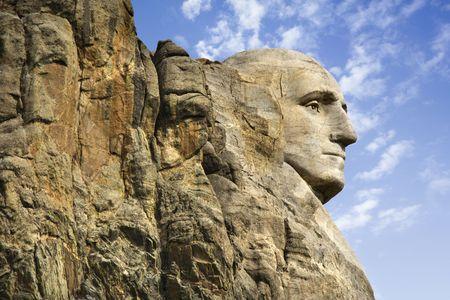 dakota: Profile of George Washington carving at Mount Rushmore National Monument, South Dakota.