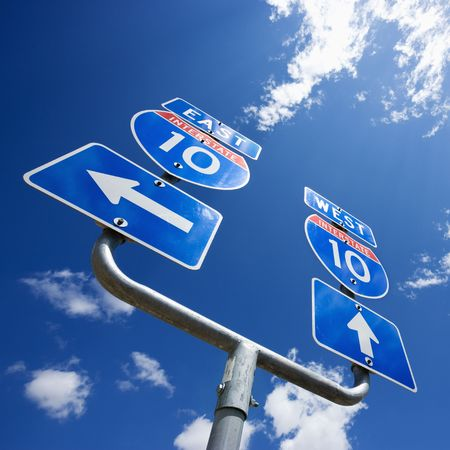 Highway interstate 10 sign with arrows showing direction. Stock Photo - 1832244