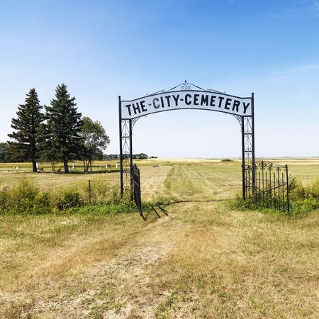 grave site: Entrance to rural cemetary in field with decorative iron gate.