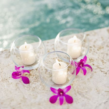Candles and orchids. Stock Photo - 1850333