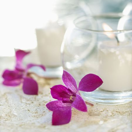 Close up of candles and purple orchids. Stock Photo - 1841721