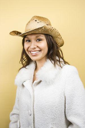 straw hat: Donna nel cappello di paglia.