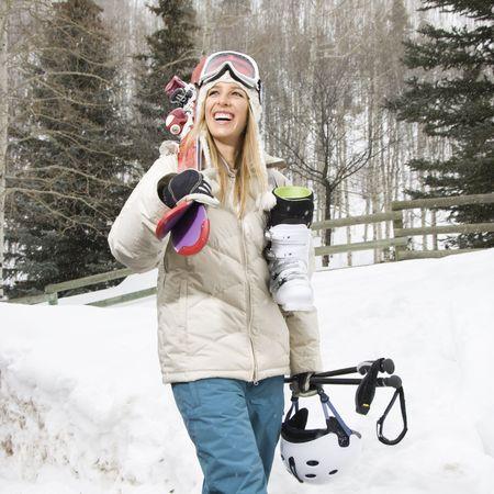 Woman with ski gear. photo